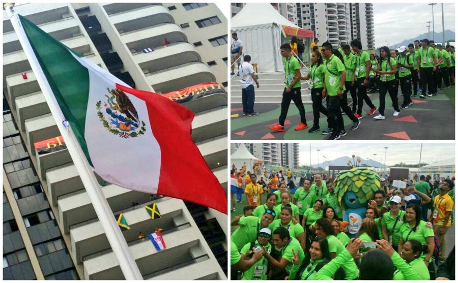 Ondea bandera mexicana en Villa Paralímpica Río 2016