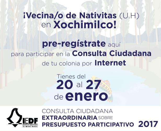 Pre-registro para participar por internet en la Consulta Ciudadana Extraordinaria en Colonia Nativitas