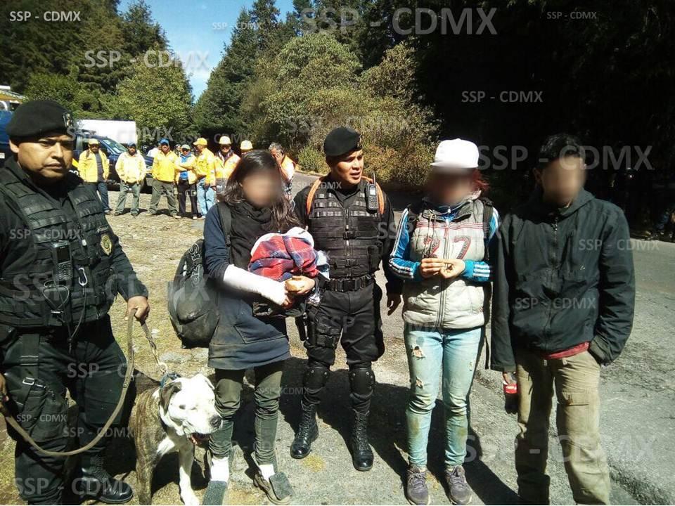 RESCATA SSP-CDMX A TRES JÓVENES Y UN PERRO EXTRAVIADOS EN EL AJUSCO