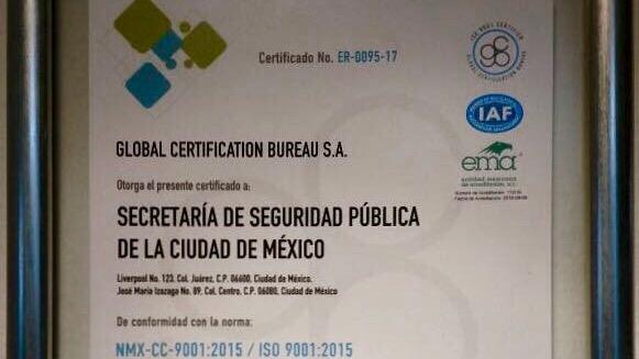 El programa tecnológico de fotomultas implementado por SSP recibe certificado ER-0095-17