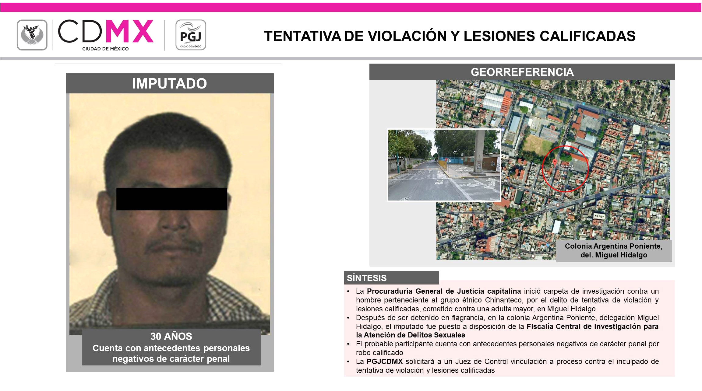 LOGRA LA PGJ CAPITALINA VINCULAR A PROCESO A HOMBRE POR TENTATIVA DE VIOLACIÓN