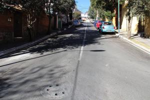 Concluyeron los trabajos de reencarpetado en la calle Cuauhtémoc, col. Cuajimalpa Centro