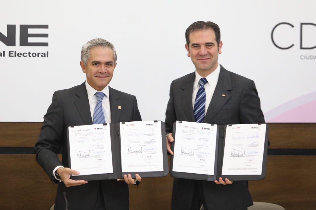 Firman GCDMX e INE convenios de colaboración de cara al proceso electoral