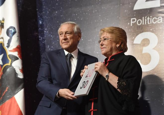 Michelle Bachelet, participó en la presentación del libro Política exterior de Chile 2030