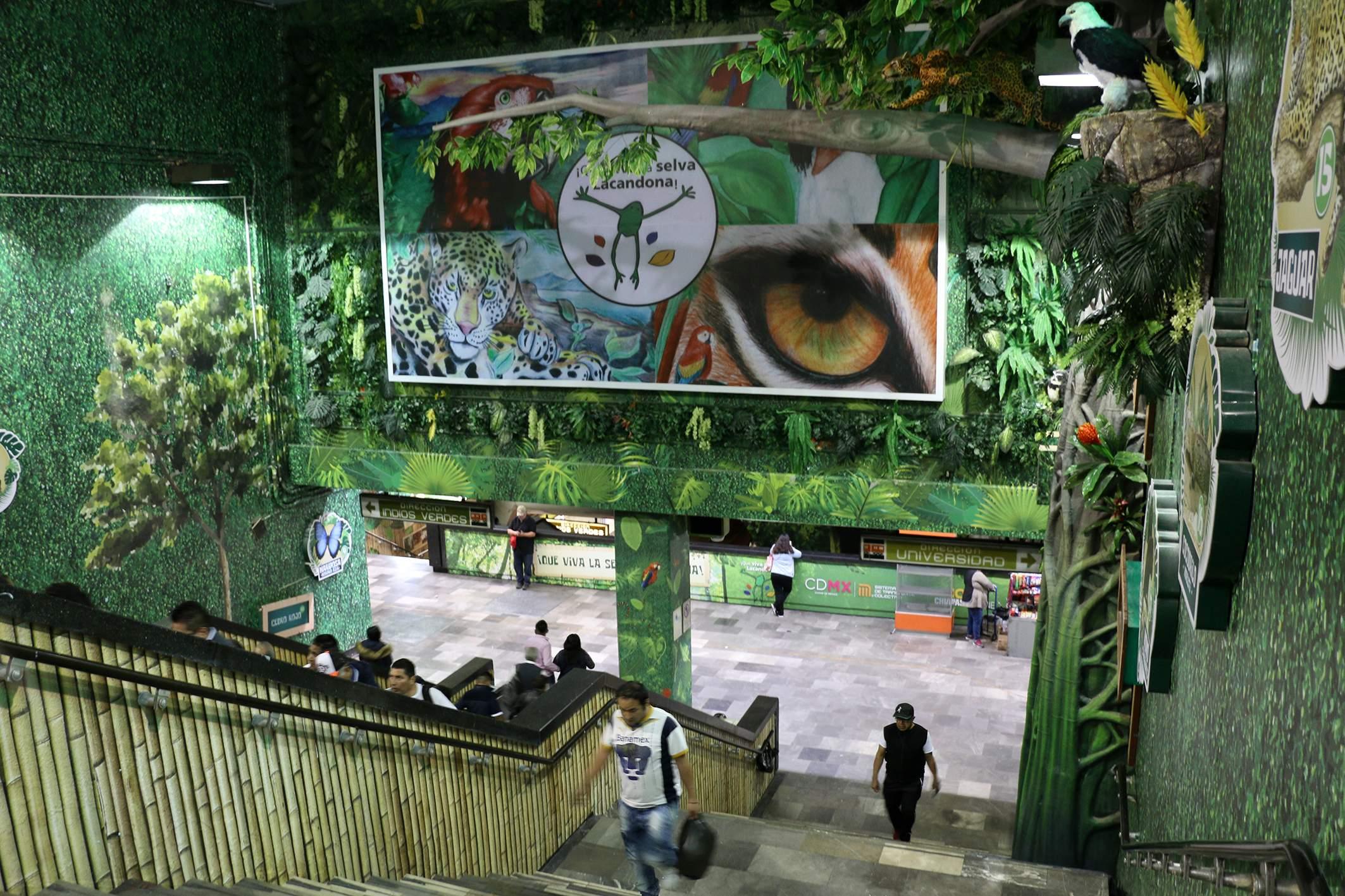 Honran a Selva Lacandona en estación Viveros del METRO
