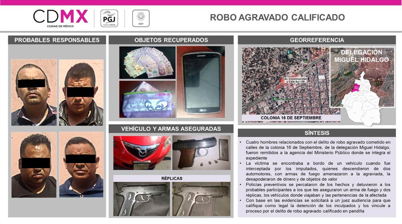 La PGJCDMX reúne pruebas contra cuatro hombres detenidos mientras robaban con violencia a un conductor