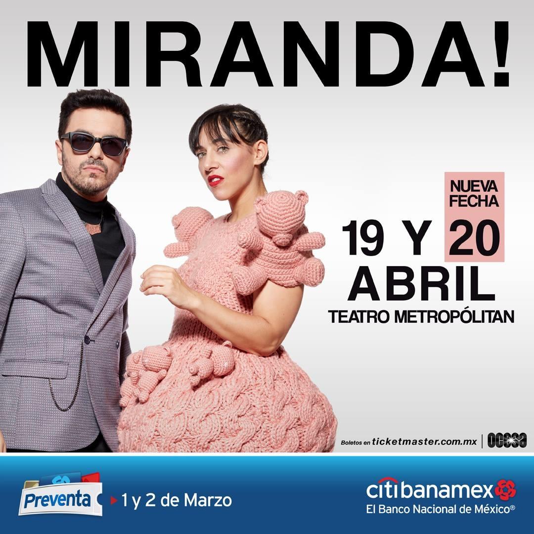 Miranda anuncia nuevo concierto en la CDMX