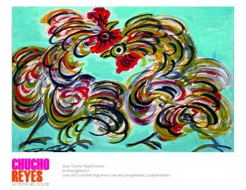 Entre gallos, santos y flores se inauguró la exhibición del artista tapatío Chucho Reyes