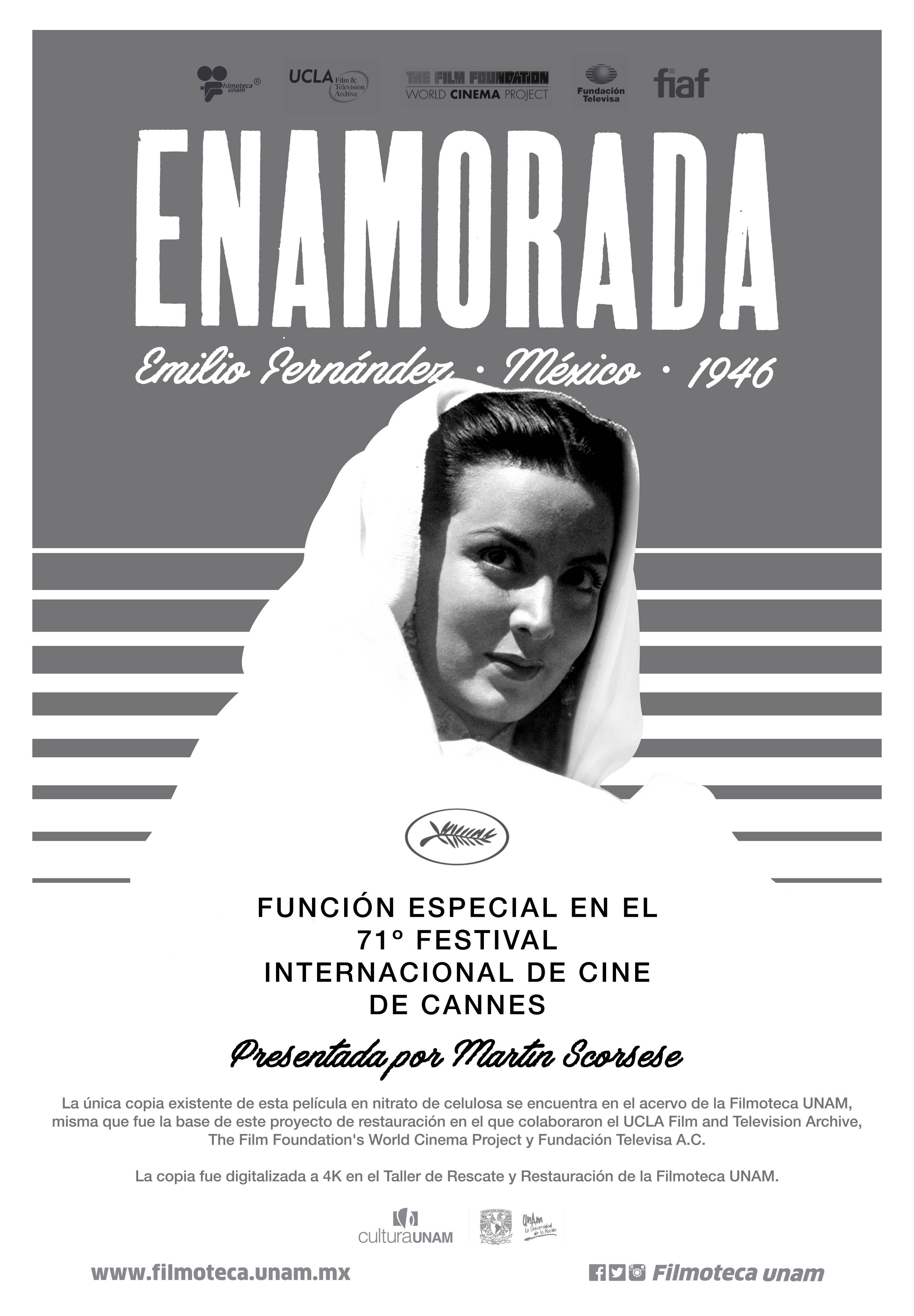 ENAMORADA, PELÍCULA RESTAURADA POR LA UNAM PARA EL FESTIVAL DE CANNES