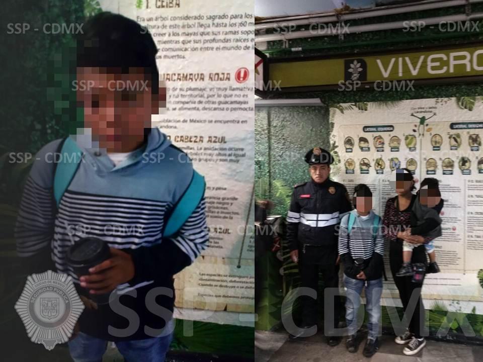 POLICÍAS DE LA SSP-CDMX REÚNEN A UN MENOR EXTRAVIADO CON SU FAMILIA