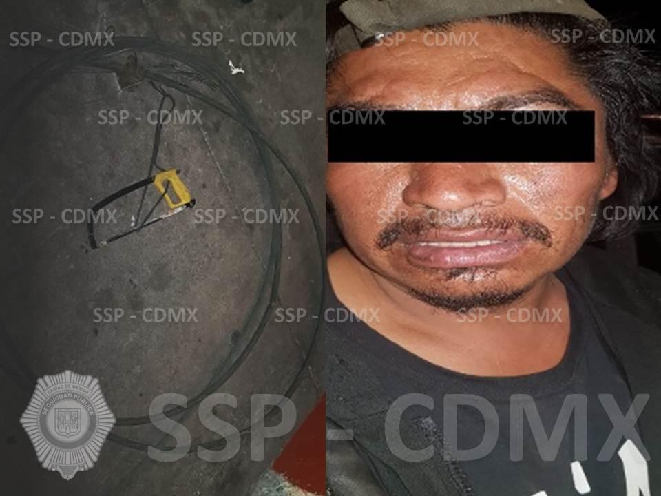 POLICÍAS DE LA SSP-CDMX RECUPERAN CABLE DEL TRANSPORTE PÚBLICO Y DETIENEN A DOS PERSONAS