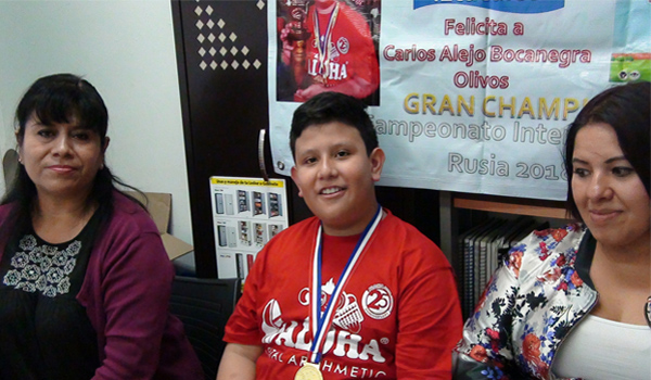 Estudiante de la Casa de Cultura Flamingos de Iztacalco ganó campeonato mundial de cálculo mental en Rusia.
