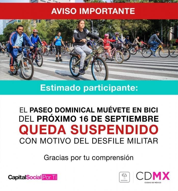 Muévete en bici suspenderá actividades por desfile militar de Independencia de México