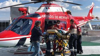 Trasladan en helicóptero a menor con quemaduras por explosión en Hidalgo