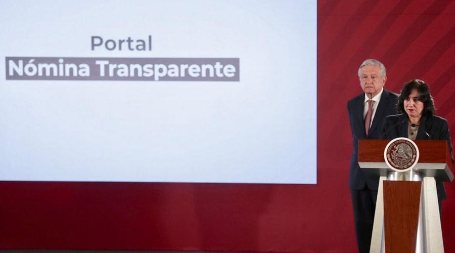 Transparentarán nómina del gobierno Federal
