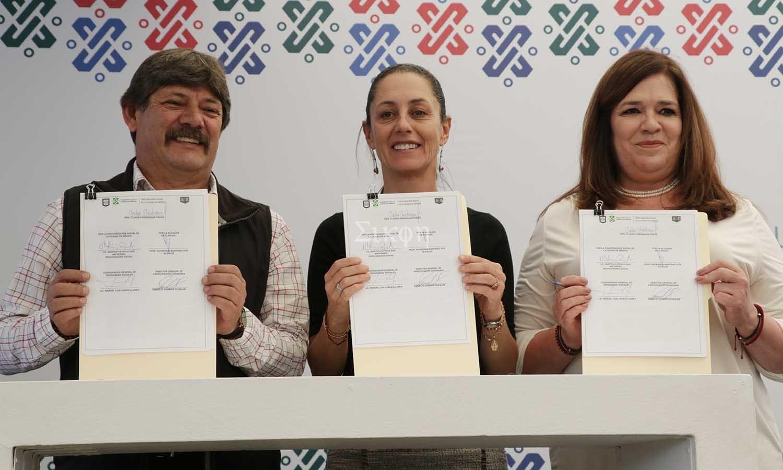 Firma la Jefa de Gobierno como testigo de honor convenio de colaboración entre la Alcaldía de Tláhuac y PROSOC