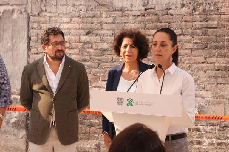 Encabeza Jefa de Gobierno el inicio de trabajos para la reconstrucción en inmuebles de Pasteje 35 y Palomares 16