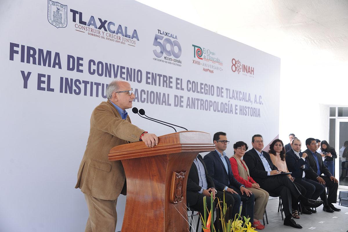 Firma INAH convenio de colaboración con El Colegio de Tlaxcala