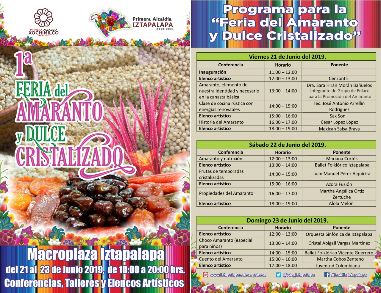 Realizará Iztapalapa la Primera Feria del Amaranto y Dulce Cristalizado en colaboración con Xochimilco y Milpa Alta