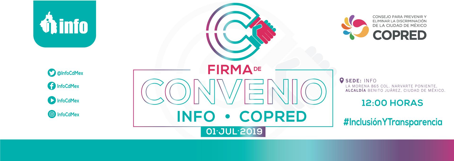 Firma del convenio marco de colaboración entre el INFO y el COPRED