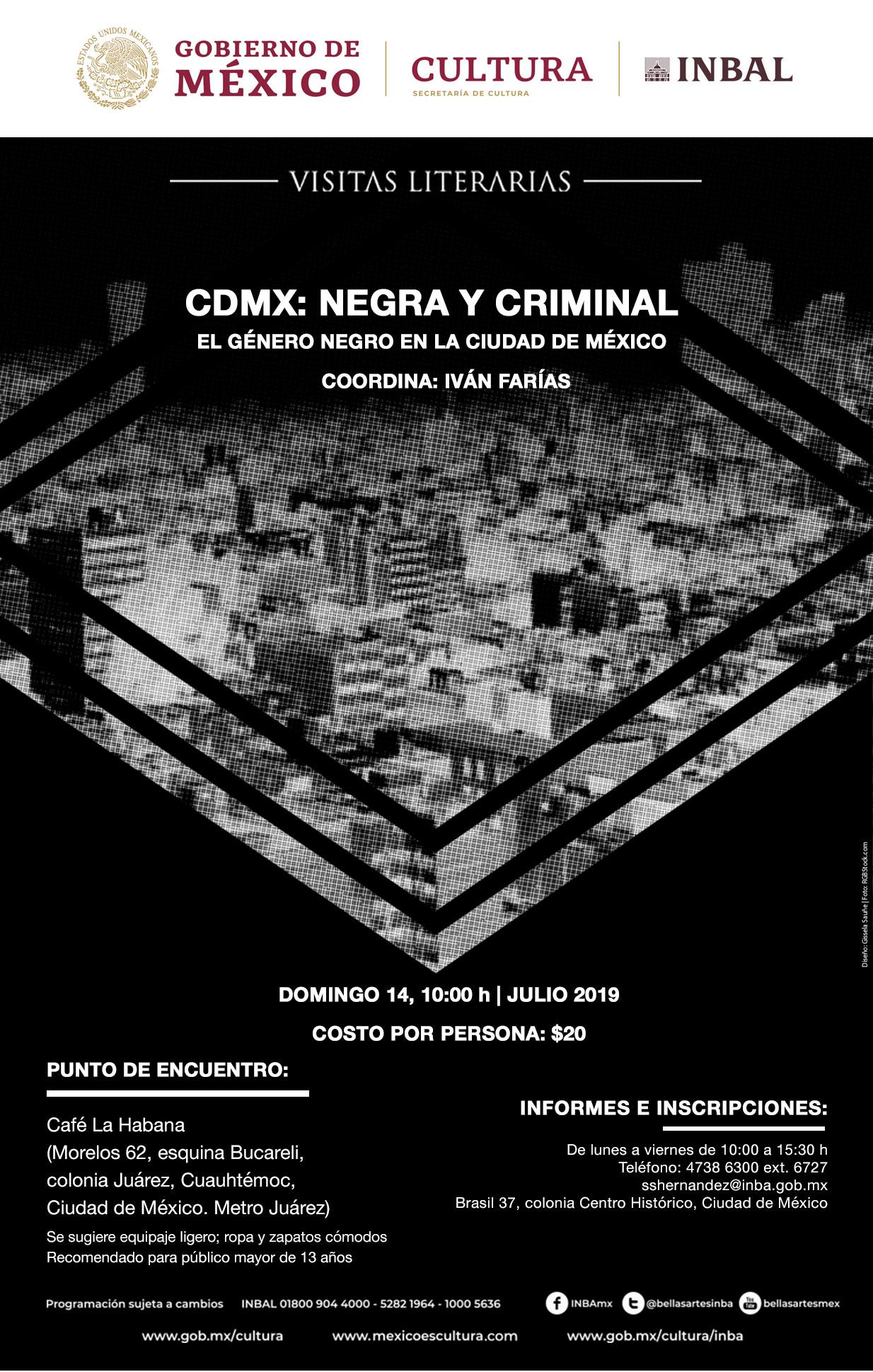 El ciclo Visitas literarias rastrea la pista de la novela negra en la CDMX