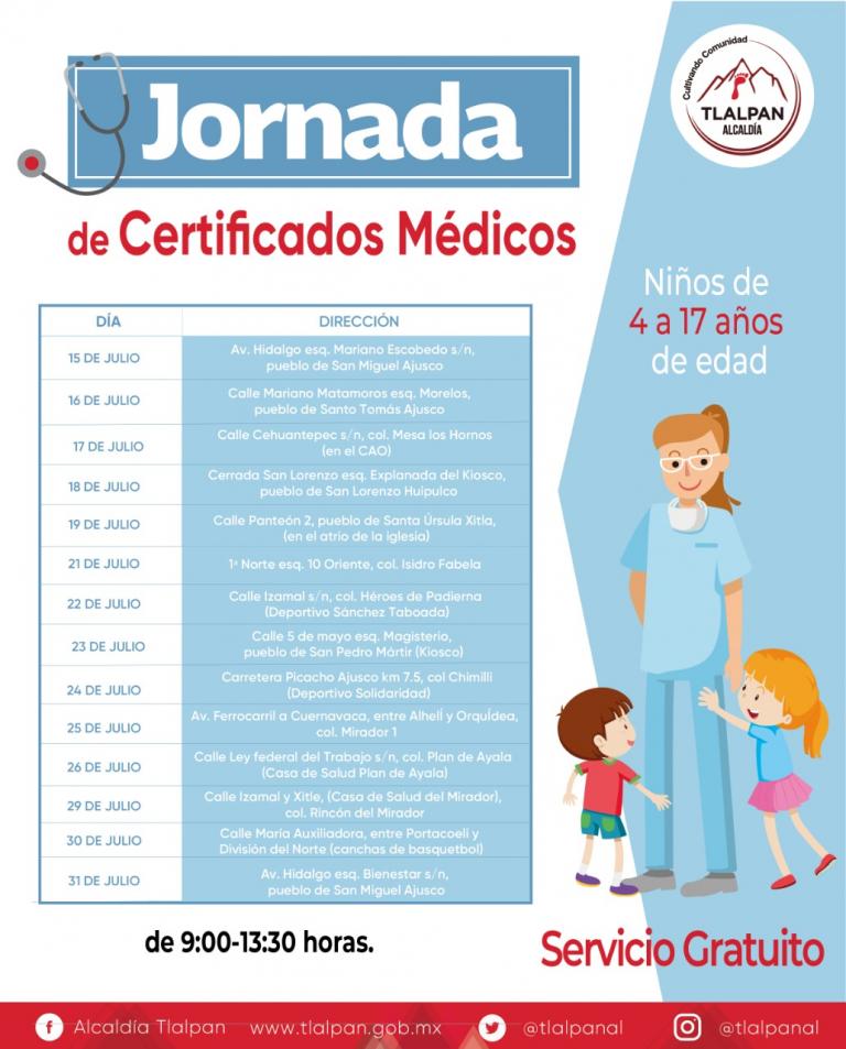 Tlalpan brindará certificados médicos gratuitos a más de 8 mil niñas y niños