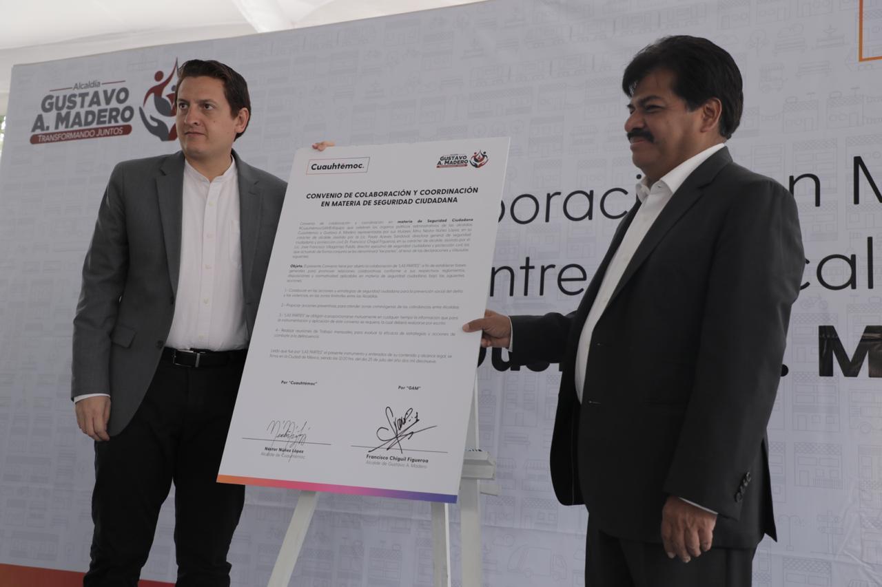 Se firma Convenio de Colaboración para inhibir el delito entre Cuauhtémoc y GAM