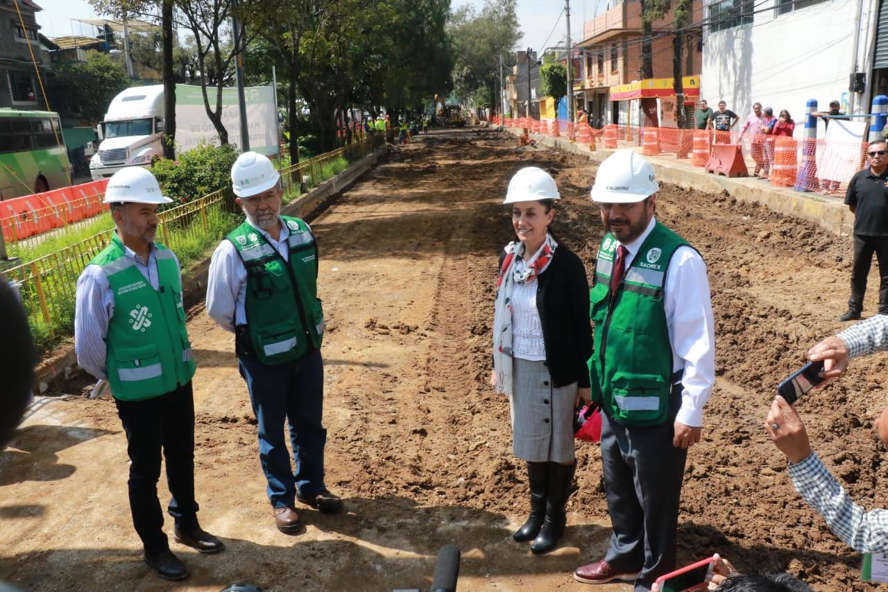 Supervisa Jefa de Gobierno Obras de drenaje y repavimentación en Avenida Ceylán