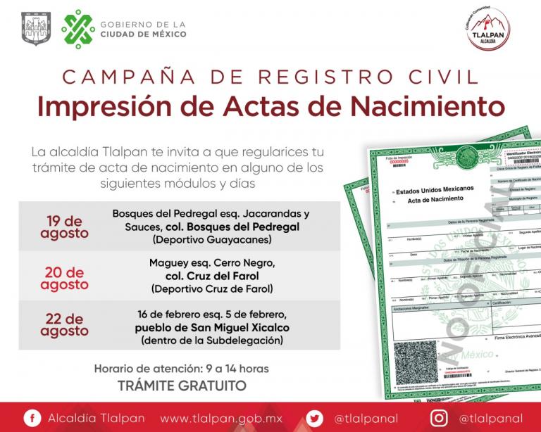 Tlalpan y Gobierno CDMX otorgan actas de nacimiento gratuitas