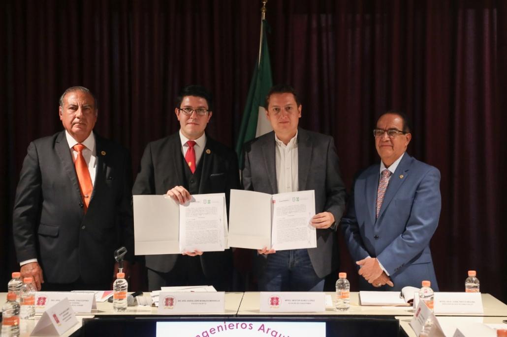 Firman convenio alcaldía y el Ilustre Colegio de Arquitectos Ingenieros para reforzar acciones de protección civil