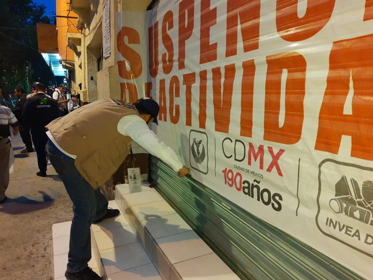 Suspenden actividades a 3 establecimientos en Alcaldía Cuauhtémoc