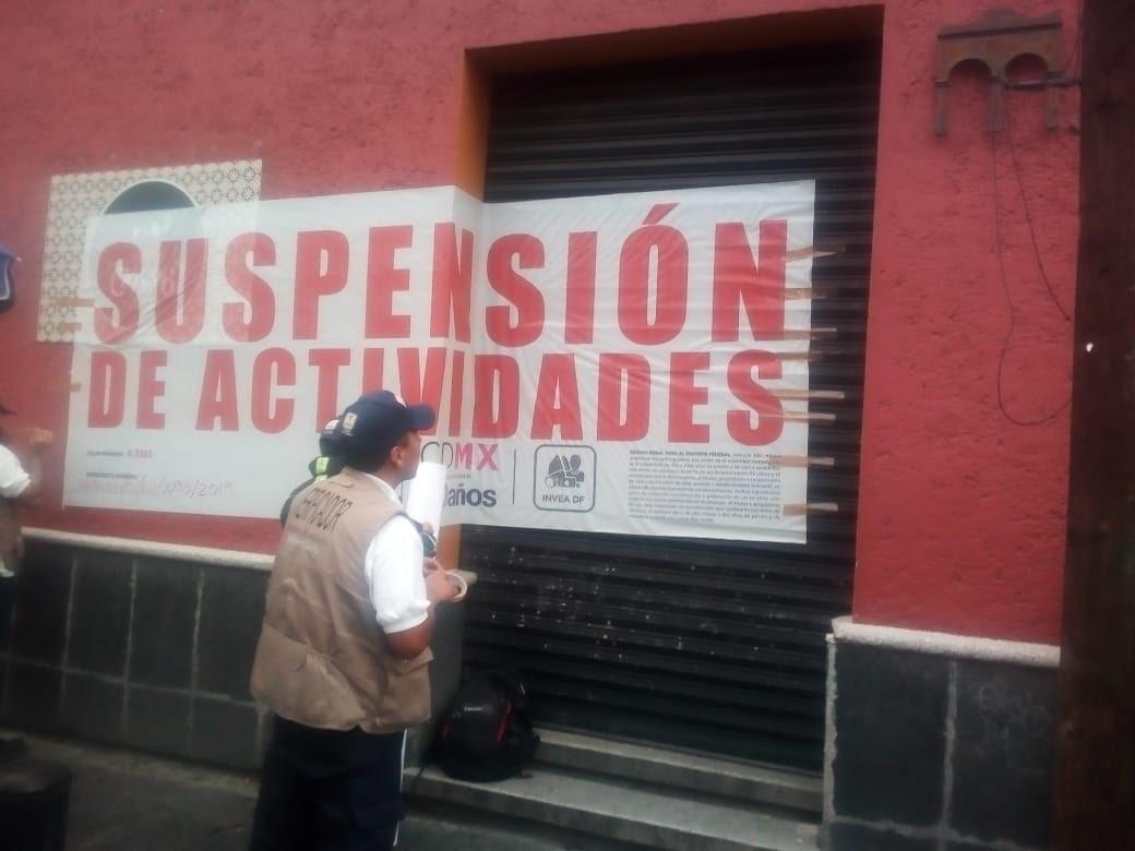 INVEA suspende actividades a 4 establecimientos en Coyoacán