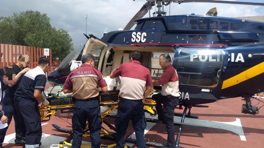 Cóndor de la SSC Apoyó en el traslado de un Hombre con trauma en Cráneo, Tórax, Abdomen y Choque Séptico