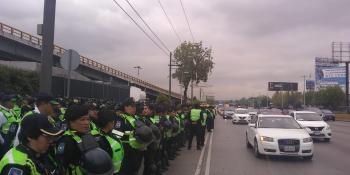 SSC Implementa Dispositivo de Seguridad y Vialidad ante presencia de Manifestantes en inmediaciones del AICM