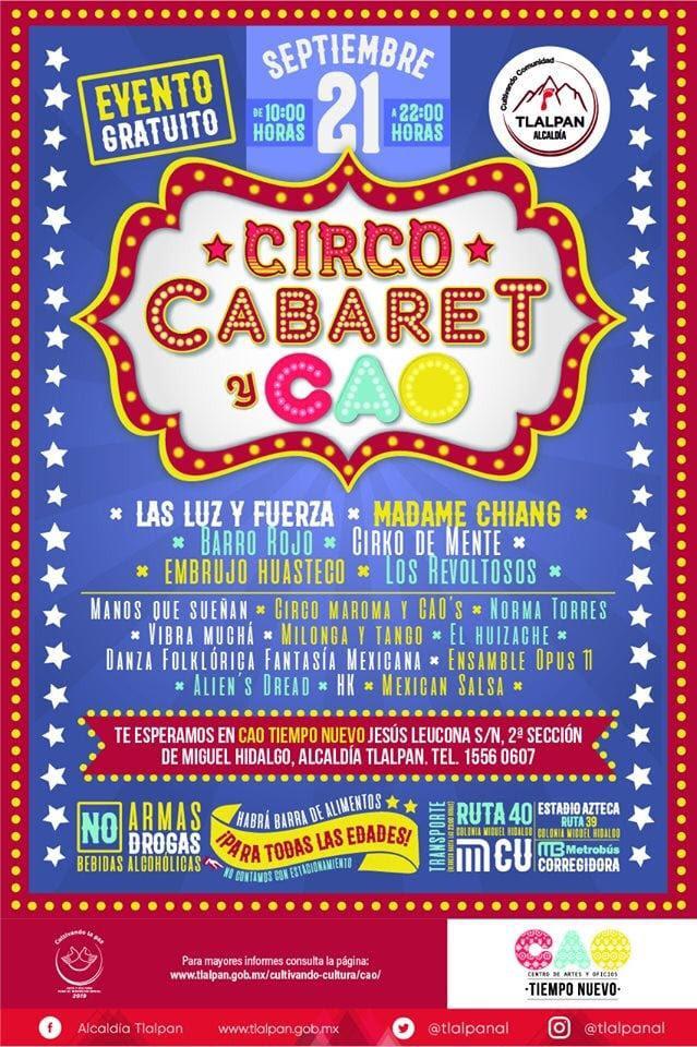 Tlalpan celebrará festival Circo, Cabaret y CAO