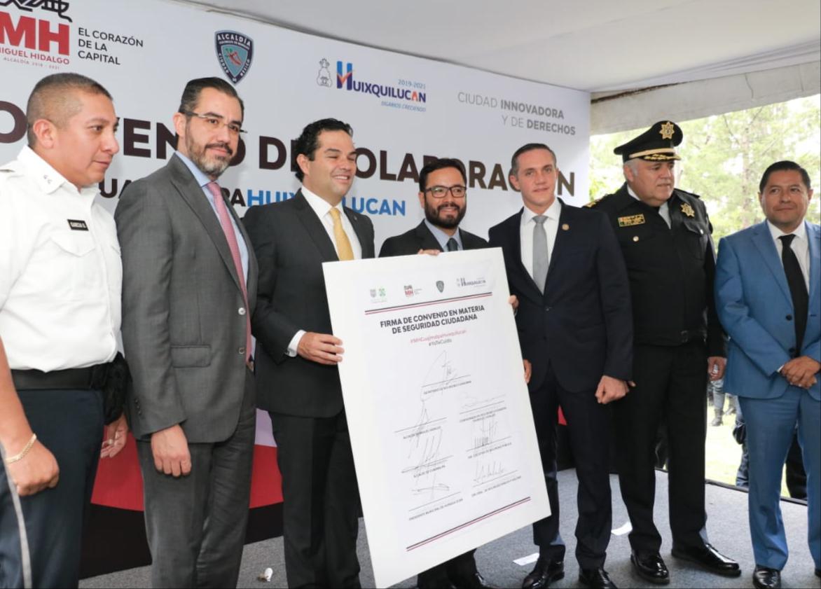 SECRETARIO DE LA SSC FIRMA CONVENIO DE SEGURIDAD CON LOS ALCALDES DE MIGUEL HIDALGO, CUAJIMALPA Y DEL PRESIDENTE MUNICIPAL DE HUIXQUILUCAN