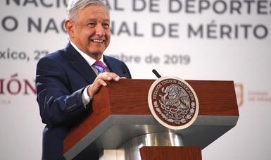 Presidente López Obrador entrega Premio Nacional de Deportes y Premio Nacional de Mérito Deportivo 2019