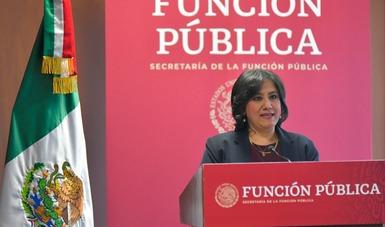 Palabras de la secretaria de la Función Pública, Irma Eréndira Sandoval Ballesteros, en la conferencia de prensa sobre Manuel Bartlett Díaz