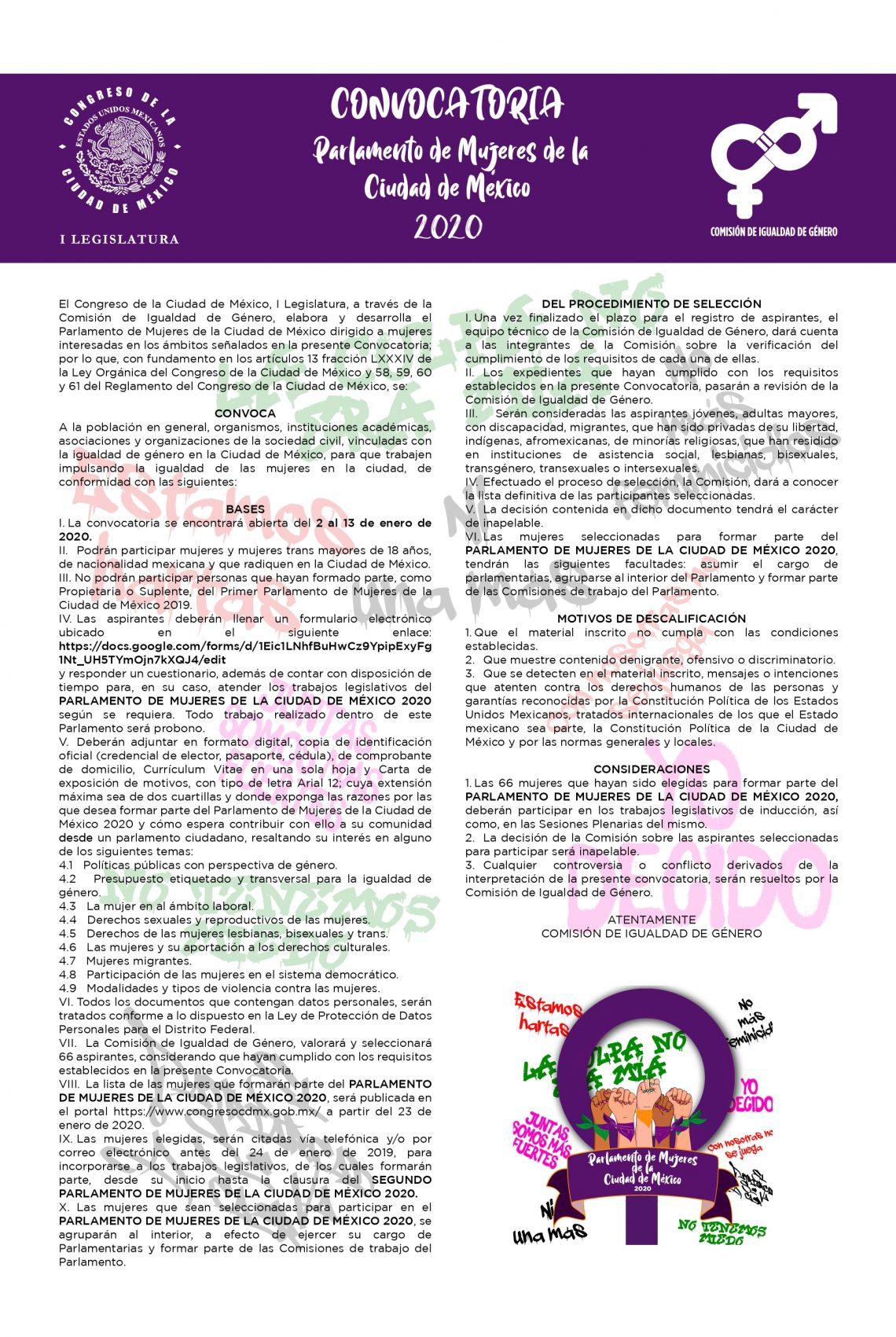 Convocatoria para el Segundo Parlamento de Mujeres de la Ciudad de México 2020