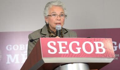 Política pública de la Secretaría de Gobernación encaminada a la justicia transicional, refrenda Olga Sánchez Cordero