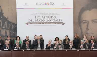 Asiste secretaria de Gobernación a la ceremonia conmemorativa por el primer aniversario luctuoso de Alfredo del Mazo González