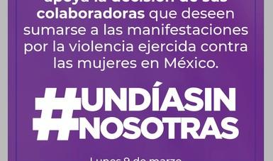 La Secretaría de Cultura apoya a sus colaboradoras que se sumen a la iniciativa del 9 de marzo