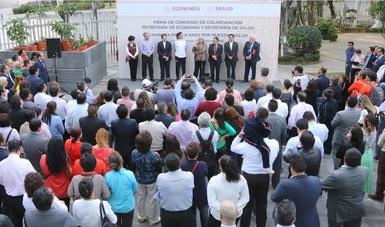 Suscriben las secretarías de Economía y Salud convenio para combatir sobrepeso, obesidad y diabetes