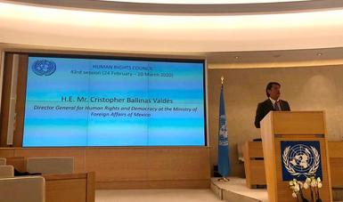 México participa en el Segmento de Alto Nivel del 43º periodo de sesiones del Consejo de Derechos Humanos de la ONU