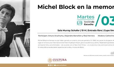 Rendirán homenaje al pianista Michel Block