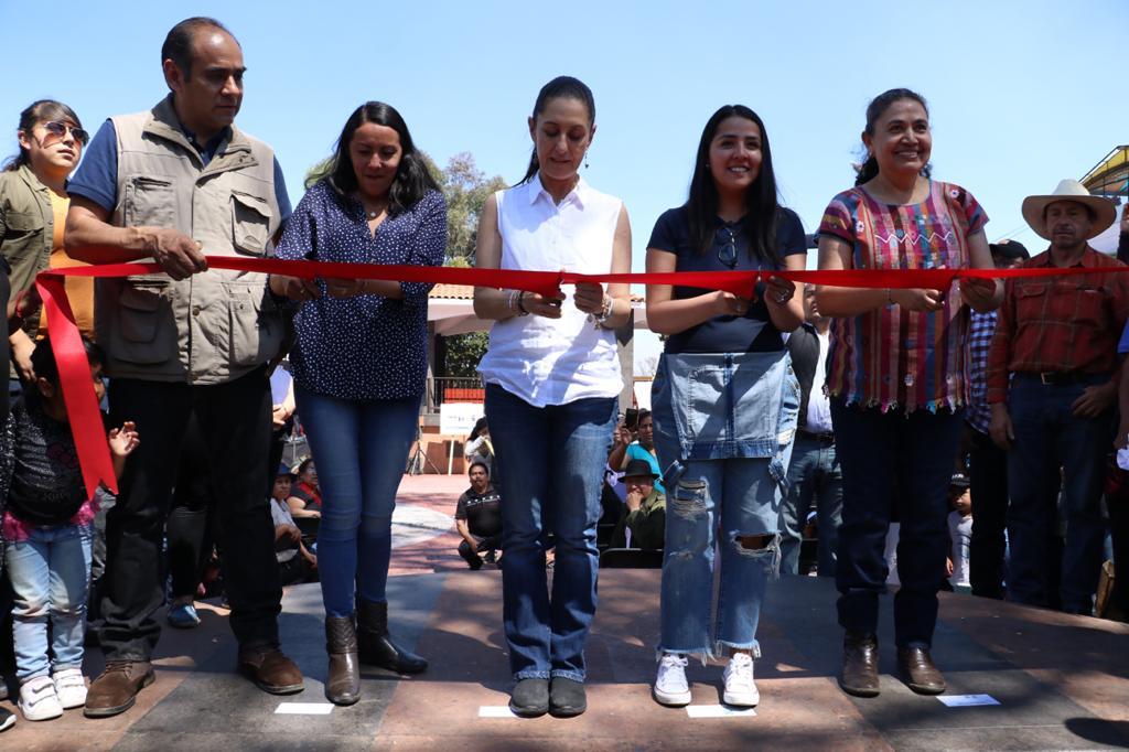 Inaugura Jefa de Gobierno Plaza Cívica del Pueblo de San Nicolás Totolapan en Magdalena Contreras