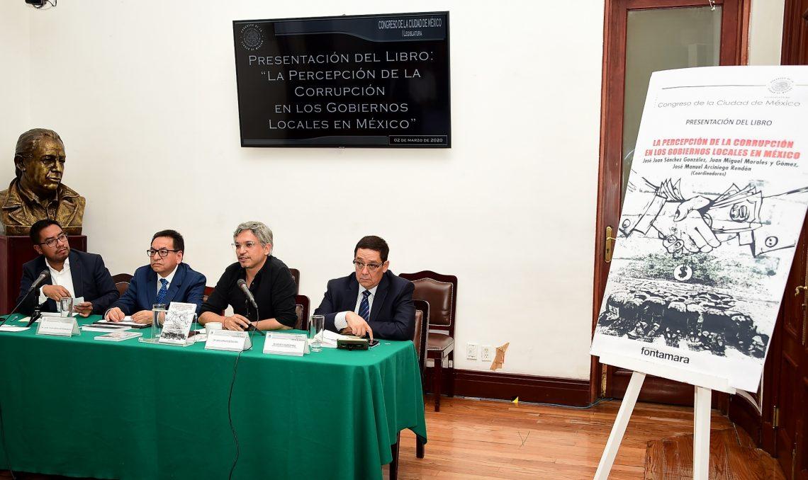 Presentan el libro la percepción de la corrupción en los gobiernos locales de México, en el Congreso capitalino