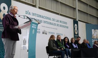 Palabras secretaria Olga Sánchez Cordero, en el acto con motivo del Día Internacional de las Mujeres
