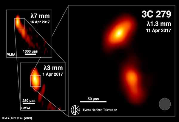 "Muestran primera imagen de un ""chorro relativista"" de materia, emitido desde un hoyo negro"