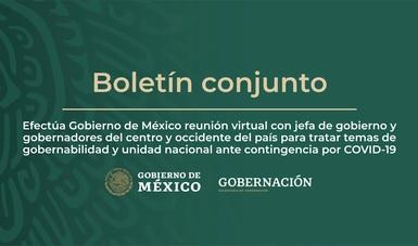 Efectúa Gobierno de México reunión virtual con jefa de gobierno y gobernadores del centro y occidente del país